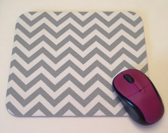 Silver/Gray and White Chevron Print Mouse Pad High Quality Desk Decor