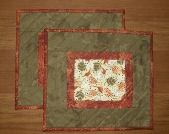 Fall Quilted Mug Rugs Snack Mats, Orange and Green Mug Rugs Snack Mat, Fall Quilted Candle Mat, Orange and Green Quilt, Autumn Mug Rugs