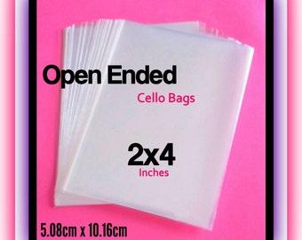 100 ( 2x4 ) Open Ended Cello Bags ..  Non Sealing 2x4 Cello Bags, Clear Cello Bags, Clear Gift Bags, Small Candy Bags 2x4