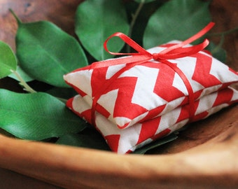 Set of Two Red and White Chevron Pocket Handwarmers