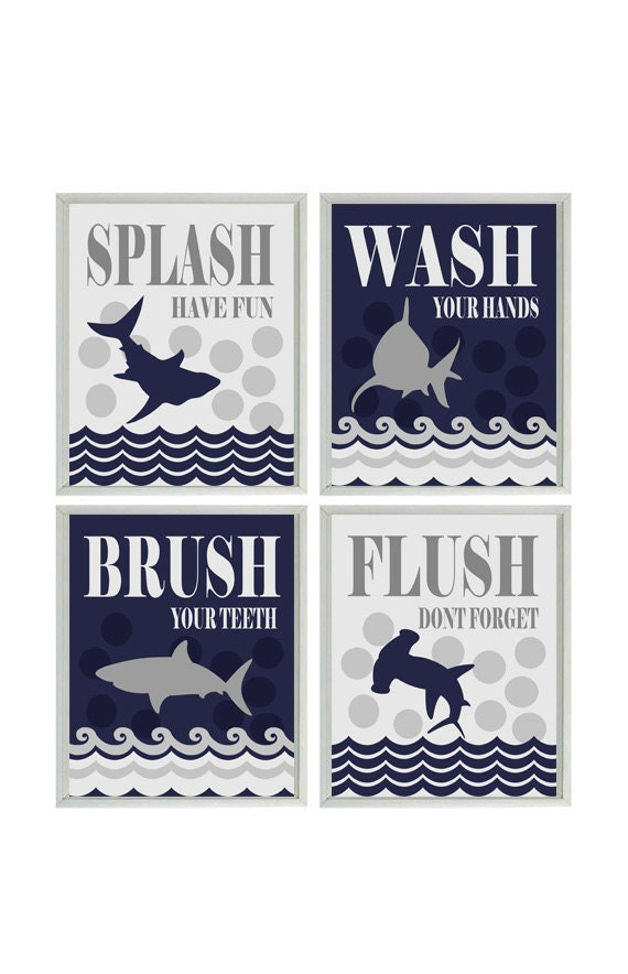 Shark bathroom wall art kids bathroom wash flush brush for How do sharks use the bathroom