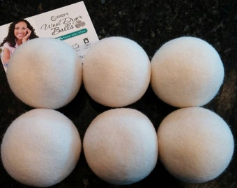 FULL SET of 6 EXTRA Large Wool Dryer Balls for Softening Laundry- 100% Natural Laundry Softener Choose your Color