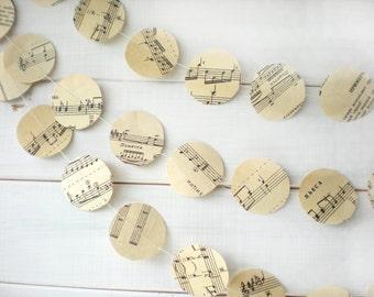 Music Page Circles Garland,Circles Garland,  Wedding Decor, Wedding Garland, Bridal Shower Decor, Romantic Garland, 10 feet long