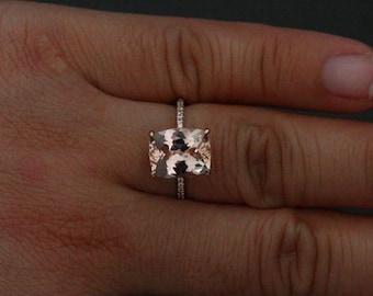 Morganite Ring Morganite Engagement Ring in 14k Rose Gold with Morganite Cushion 11x9mm and Diamond