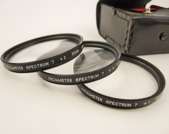 A Set of 'Promaster Spectrum' Close-focusing Lenses for a 55mm Lens - Lenses in Case - Camera - Fun - Collectible - Accessory