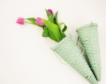 """Wicker Flower Cones With Hangers - Two Mint Green Painted Cones - Perfect for Hanging - Long 12"""" Cones"""