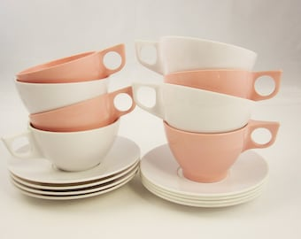 Mix and Match Pink and White Melmac - Eight Cups and Saucers - Home and Picnics - 'Debonaire' and 'Stetson' Melmac
