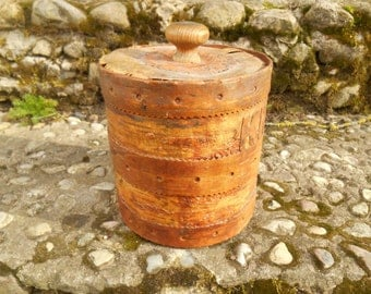 Swedish birch bark coffee container Large Birch bark storage box with a lid Big Rustic storage box