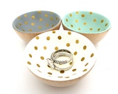 Cream and gold dots wood dish, jewelry dish, ring cup, mini jewelry holder, polka dot, stocking stuffer, gift for her