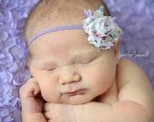 Purple Spring Mini Headband..Newborn Headband..Baby Girl Headband..Headband..Infant Headband..Baby Headband..Baby Headbands