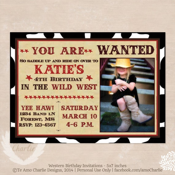 Cowgirl Birthday Party Invitations Country Western Printable
