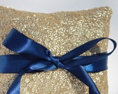 """Gold & Navy Sequin Wedding Ring Pillow. Gold and Navy Wedding Decorations. 5""""x5""""  Gold Sequin Ring Pillow. Sequin Wedding Ring Pillow. Gold."""