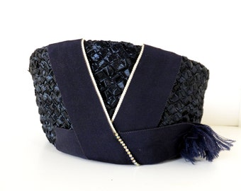 Vintage Navy Blue Synthetic Straw Hat - Vintage Church Hat - Vintage Hats Women