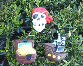 Pirate Ornaments - Set of 3 Red