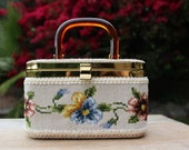 Vintage Needlepoint Box Purse Pansy Floral Design