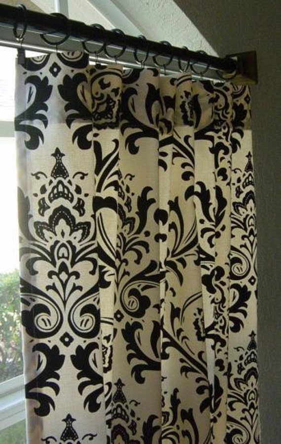 One Pair Black And White Damask Curtains 84in By