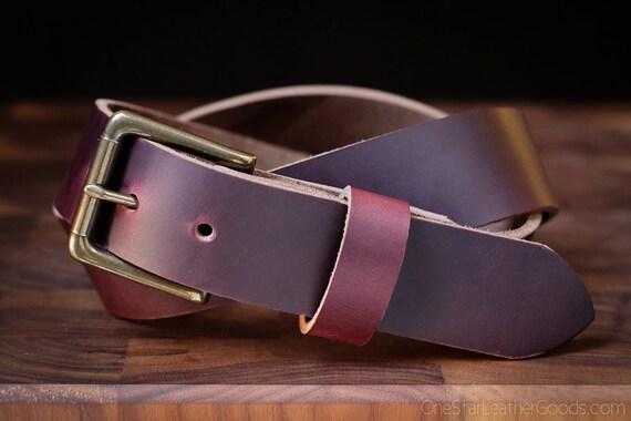 "Custom sized belt, 1.5"" heel bar buckle, belt for men & women, heavy duty belt, Horween Chromexcel leather -  - burgundy color No. 8"