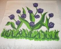 Vintage All Cotton Bath Towel with Purple Tulips