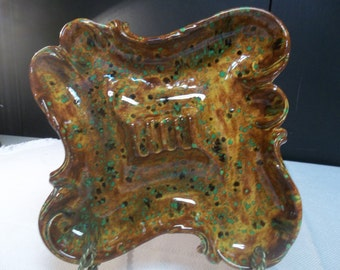 CLEARANCE! was 16.00 Vintage Splatter Paint Handmade Ceramic Ashtray in Burnt Orange, Green, Black,   T