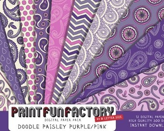 Paisley digital paper - Doodle paisley purple and pink background paper  - 12 digital papers (#143) INSTANT DOWNLOAD