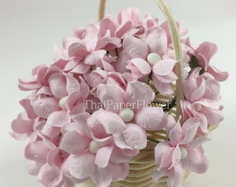 25 Small paper flower pastel pink scrapbook card making home decor craft supply S15-2