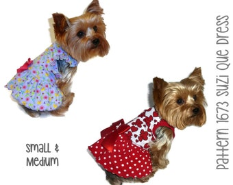 Suzi Que Dog Dress Pattern 1673 * Small & Medium * Dog Clothes Patterns * Pet Clothes Patterns * Dog Clothing * Dog Apparel * Pet Clothing