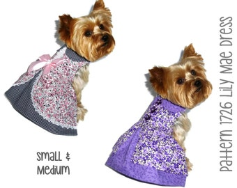 Lily Mae Dog Dress Pattern 1726 * Small & Medium * Dog Clothes Sewing Pattern * Dog Harness Dress * Designer Dog Clothes * Dog Apparel