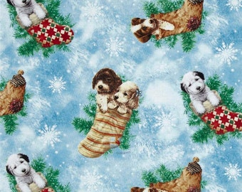 Christmas Spaniel Puppies Cotton Fabric - Fat Quarter