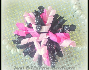 """Pink & Black Polka Dot Hair Bow - 4"""" Curly Boutique Korker Bow Clip - M2M, Birthday, Ponytail"""