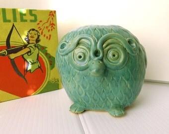 Handmade Owl, Collectible Figurine, Pottery Owl, Folk Art Owl, Ceramic Bird, Sea Foam Green, Owl Lover Gift, Wedding Gift, Handmade Pottery