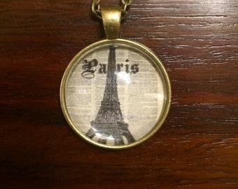 Newspaper Paris Eiffel Tower Cabochon Pendant Necklace