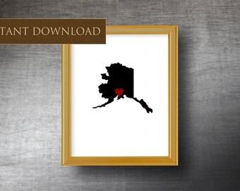 Printable Alaska Map 8x10 - Downloadable Silhouette - Digital Alaska Art - Instant Download