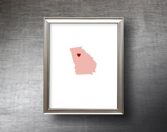 Georgia Art 8x10 - 4 Color Choices - UNFRAMED Hand Cut Silhouette - Georgia Print - Wedding Gift - Personalized Name or Text Optional