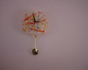 Orange Pendulum Clock