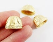 3 Large Rustic Cast Flat Cone Bead End Caps -  22k Matte Gold Plated  Round Bead caps