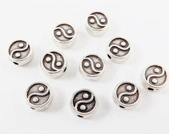 10 Round Yin Yang Symbol Matte Silver Plated Bead Spacers