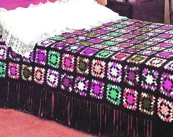 Vintage Crochet Granny Squares Afghan - Fringed Bedspread Lap Blanket Throw - PDF Instant Download - Digital Pattern - Motif Afghan - Vtg