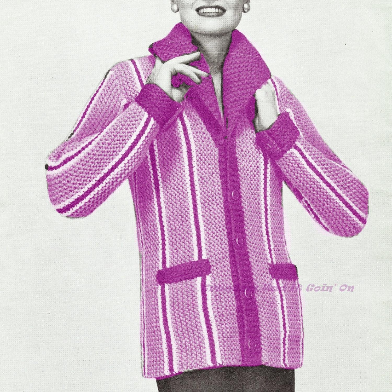 Knitting Pattern Cardigan Jacket : Vintage Sweater Cardigan Jacket Knitting Pattern PDF Instant