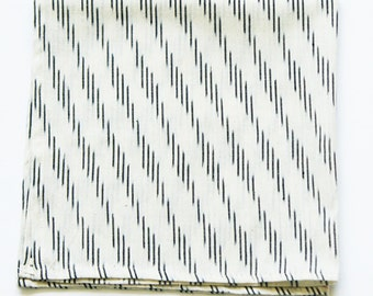 Ikat Napkin- White Grey Diagonal Stripe- Handwoven Cotton Cloth- Set of 4