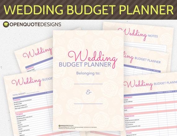 Wedding Planning Planner Organizer Budget Checklist