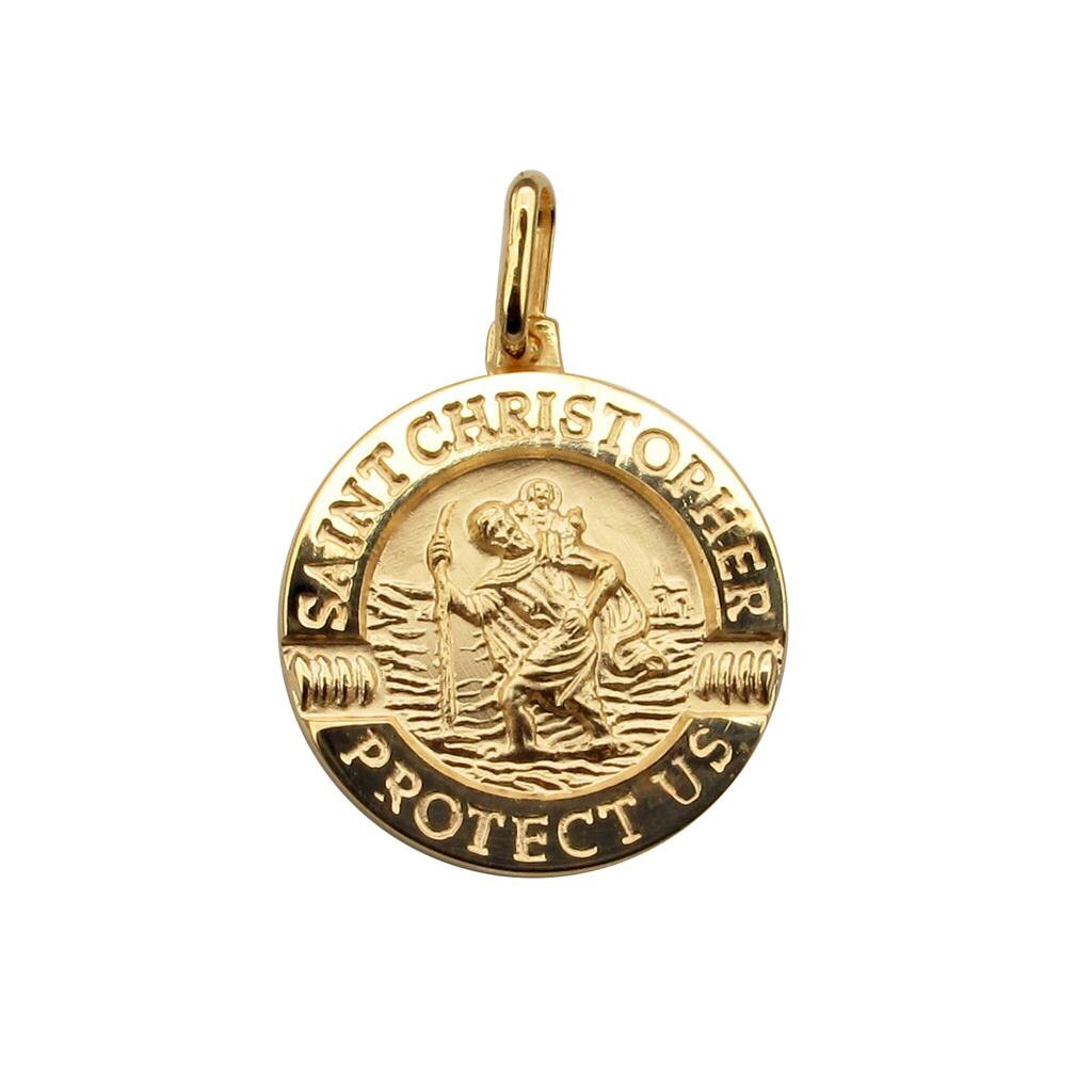 solid 9ct gold st christopher 3d split syle pendant necklace. Black Bedroom Furniture Sets. Home Design Ideas