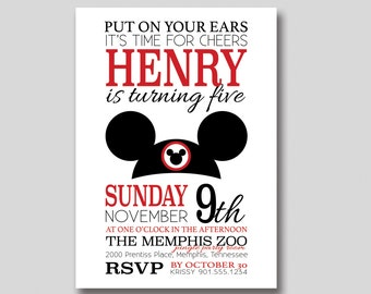 Mickey Mouse Ears Birthday Invitation - Custom DIY Printable