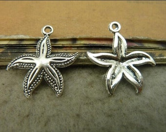 30pcs 23x25mm Antique Silver Starfish Charms Pendant, Sea Animal Charms Pendant