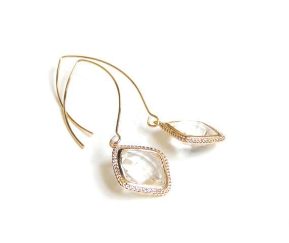Long Gold Framed Glass Earrings