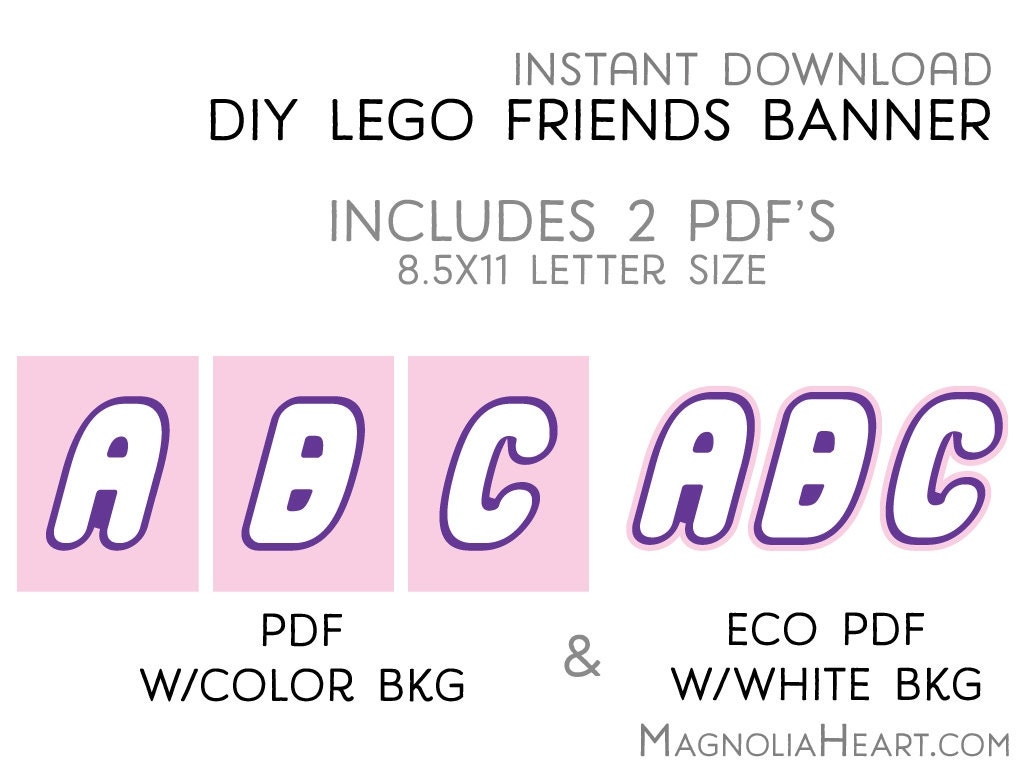 Printable Custom LEGO Friends Party Letters & by MagnoliaHeart