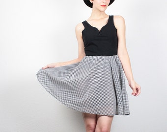 Vintage 80s Dress Black Sweetheart Neckline Bodycon Dress Skater Skirt Full Skirt Mini Dress 1980s Dress Gingham Kawaii Tulle Dress S Small