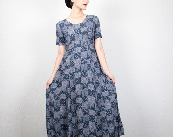Vintage 90s Dress Patchwork Blue Bandana Print Midi Dress 1990s Dress Babydoll Dress Soft Grunge Dress Hipster Boho Dress S Small M Medium