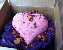 Love Spell Bath Bomb, Heart Bath Bomb Glitter Bath Bomb, Love Bath Bomb