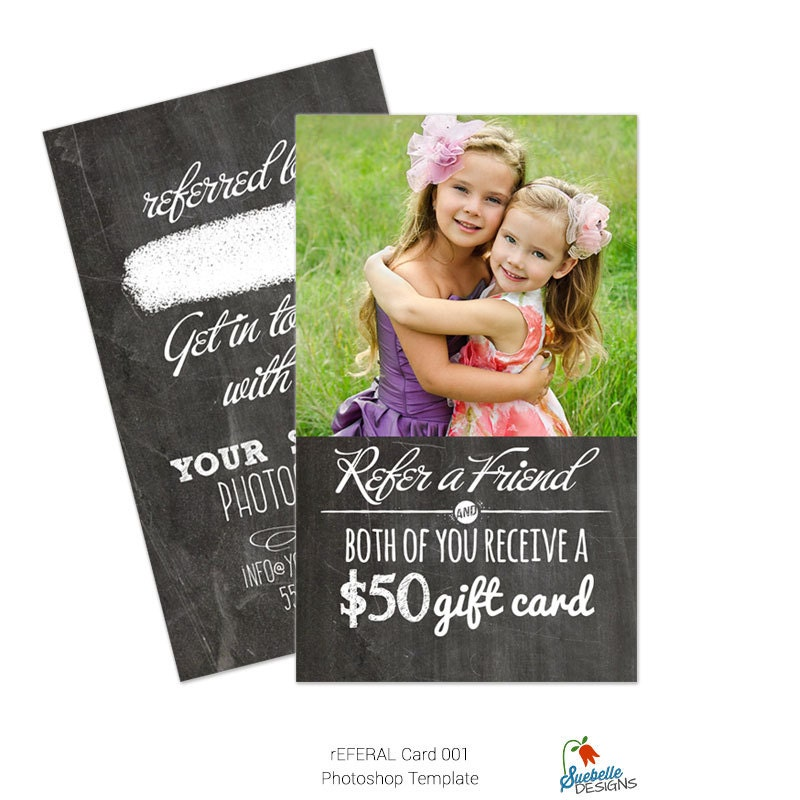 Referral Business Card Size Photoshop Template by SuebelleDesigns