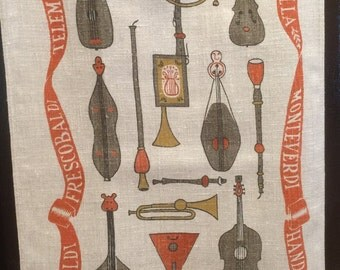 Vintage Kitchen towel, Musical Instruments and Composers, Linen